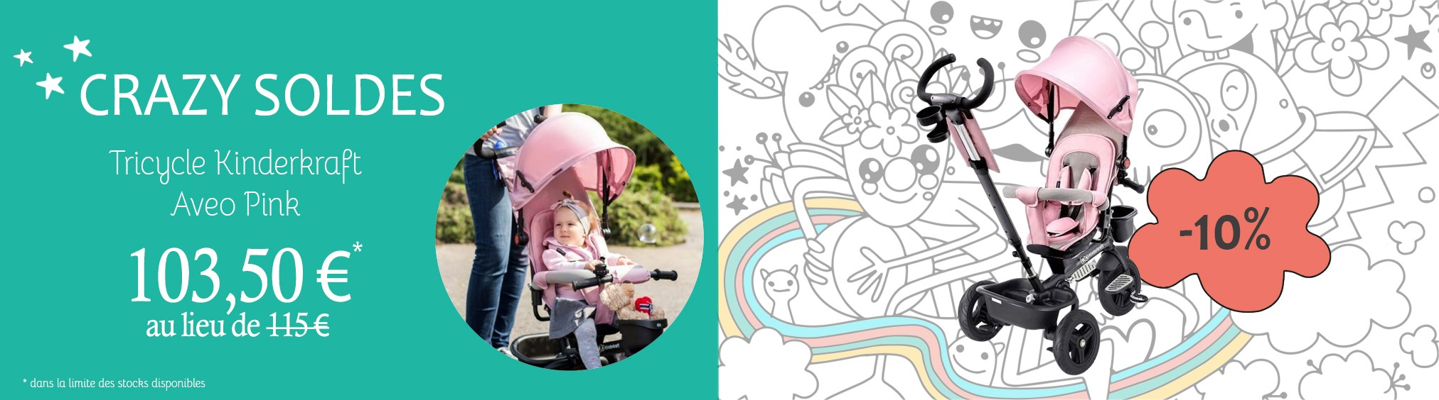 Tricycle Kinderkraft Aveo pink