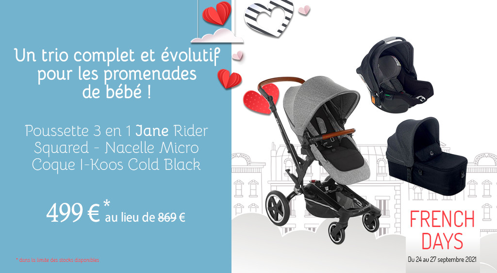 FRENCH DAYS  Poussette 3 en 1 Jane Rider Squared - Nacelle Micro - Coque I-Koos Cold Black